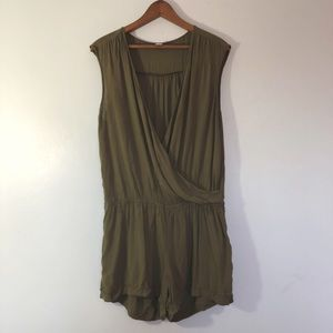 Old Navy Olive Green Faux Wrap Sleeveless Romper